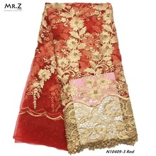 Mr.Z Tulle Mesh Lace Latest African Laces 2019 Beads Red Embroidery Nigerian Fabric Bridal For Nigeria Party