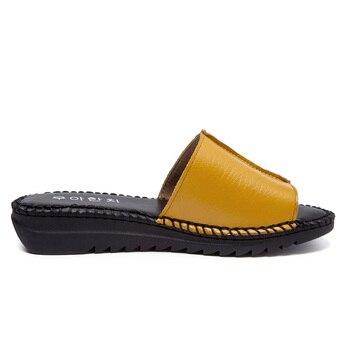 DRKANOL Handmade Sewing Genuine Leather Summer Women Slippers Open Toe Sandals Woman Shoes Flat Slippers Beach Flip Flops 3
