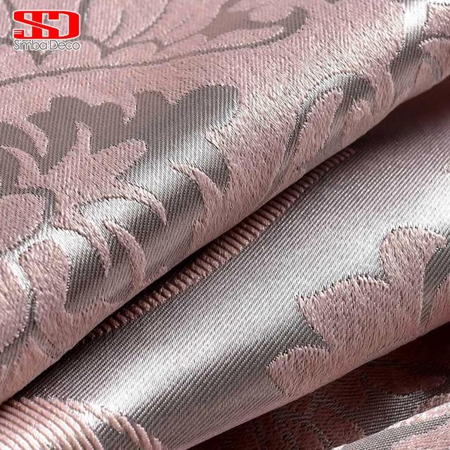 ผ้าหรูหราหรูหราม่านบังแดดสำหรับห้องนั่งเล่นสีชมพูผ้าม่าน Jacquard ผ้าม่านสีแดงเข้มยุโรปหน้าต่างแผง
