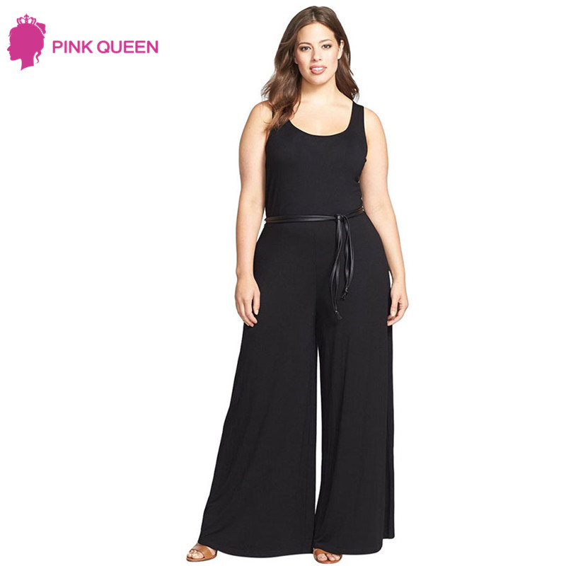 PINKQUEEN Official Store Pink Queen High Cut Pants New Fashion Woman's Rompers Jumpsuit Black Ruby Blue Large Size Wide Leg Jumpsuit Plus Size Sleeveless