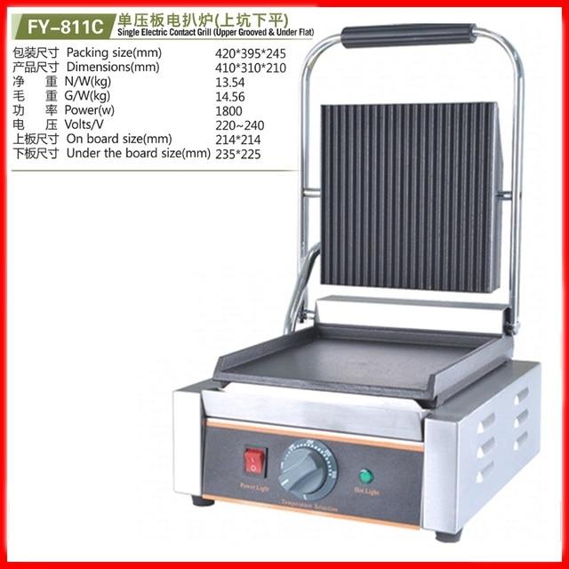 220V Multifunzionale Commerciale Elettrico Singolo Contatto Grill Superiore Scanalato Inferiore Piatto Piatto Piatto di Bistecca Piastra Panino di Alta Qualità Shenzhen Yang Store