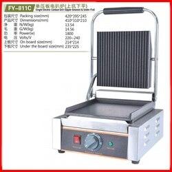 220V wielofunkcyjna handlowa elektryczne pojedyncze kontakt Grill w górnej części rowkowane niższe płaski talerz stek Sandwich patelni wysokiej jakości