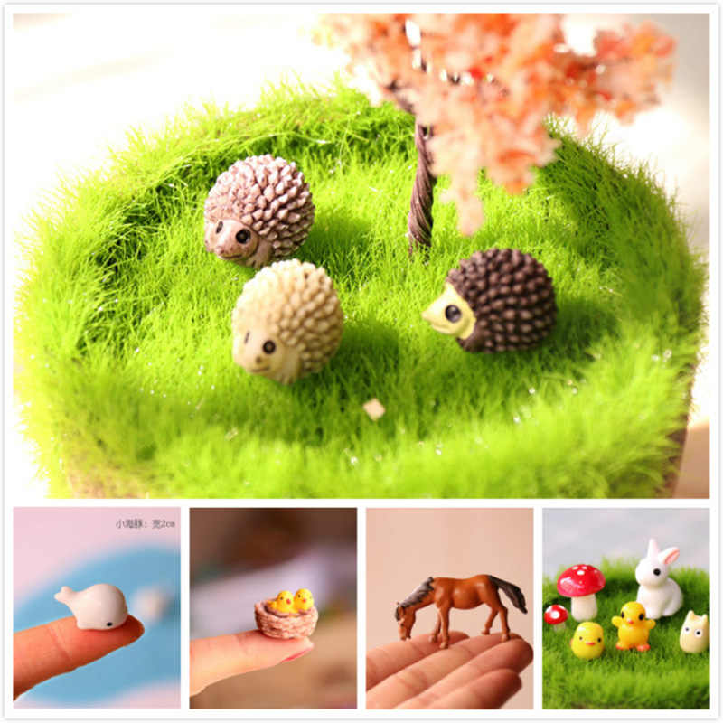 Animal Figure Hedeghog Rabbit Frog Decor Mini Fairy Garden Gnome Statue Figurines Anime Miniature Car Resin Dollhouse Kit diy