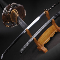 Handmade Katana Japanese Samurai Oil Quenched Damascus Folded Steel+clay tempered+Fine polished Full Tang Blade Very Sharp