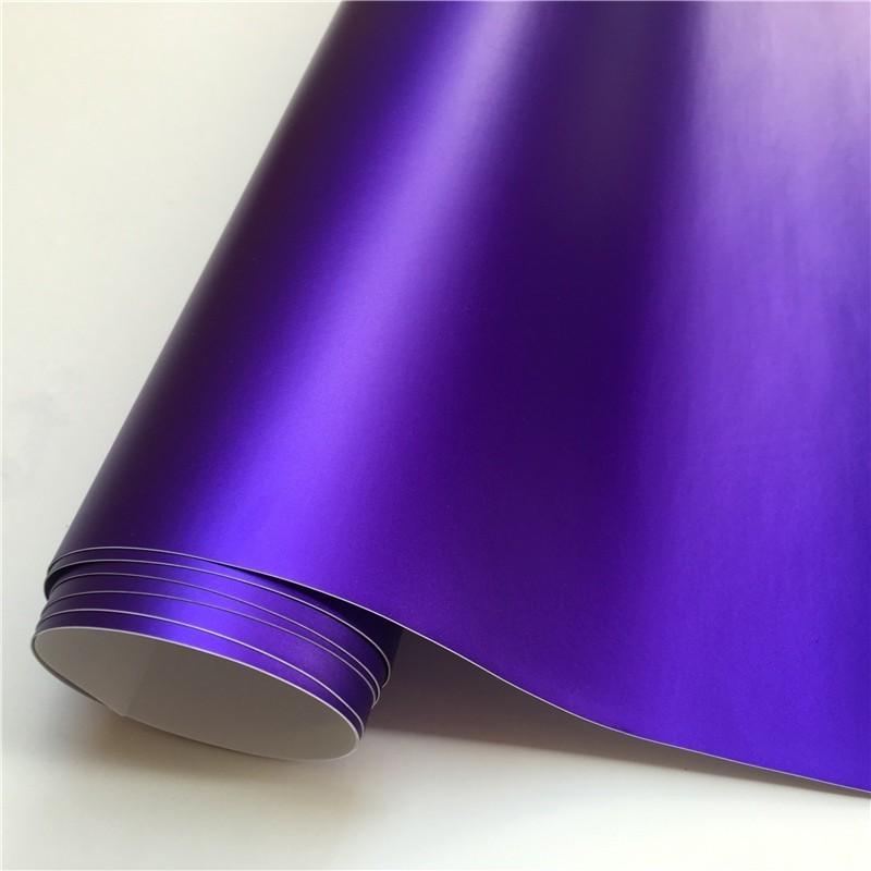 14 цветов, красный, синий, золотой, зеленый, фиолетовый матовый атлас, хром, виниловая пленка, наклейка, без пузырей, автомобильная пленка - Название цвета: Purple