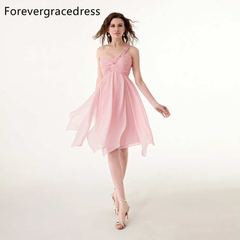 Forevergracedress 2018 Pink Short   Cocktail     Dress   Sexy One Shoulder Sleeveless With Lace Up Back Chiffon Party Gown Plus Size