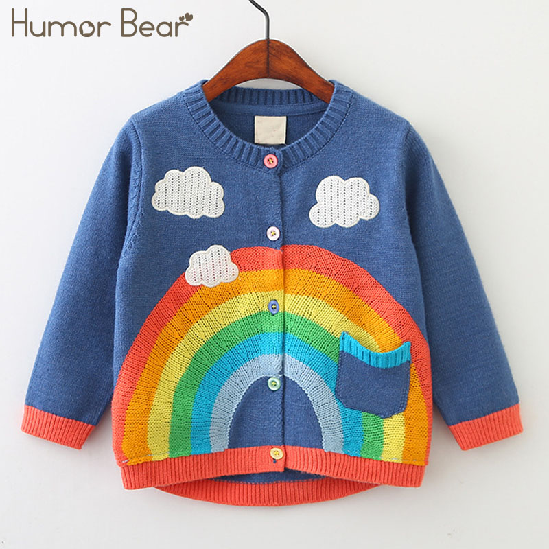 Humor Bear Baby Childrens clothes 2018 New Autumn Kids Sweater Rainbow Colours Printing Bay Girls Knitted Wool