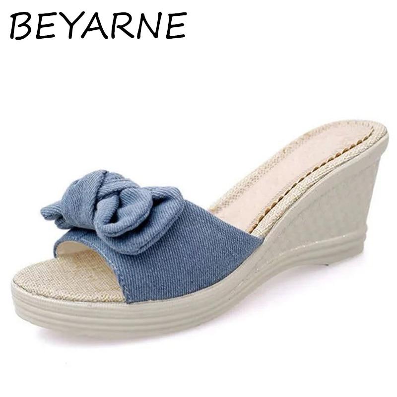 Beyarne 2018 Sommer Denim Schmetterling-knoten Sandalen Schuhe Frauen Plattform Schuhe Frau Keile Frauen Schuhe High Heels E157