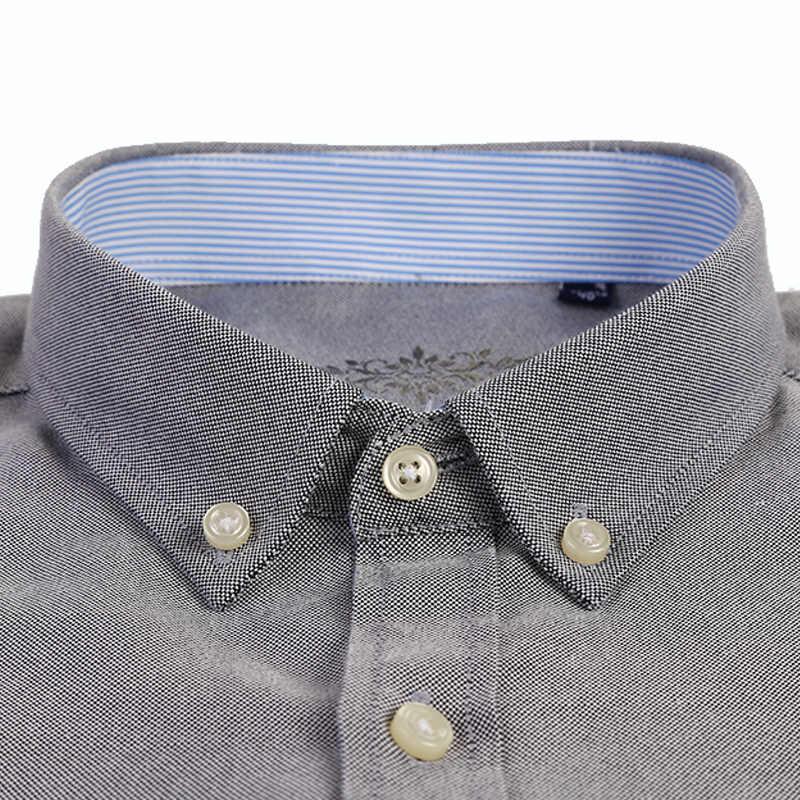 LANGMENG 2018 春の新作秋オックスフォード男性シャツ長袖綿 60% カジュアルシャツメンズスリムフィットソリッドカラードレスシャツ