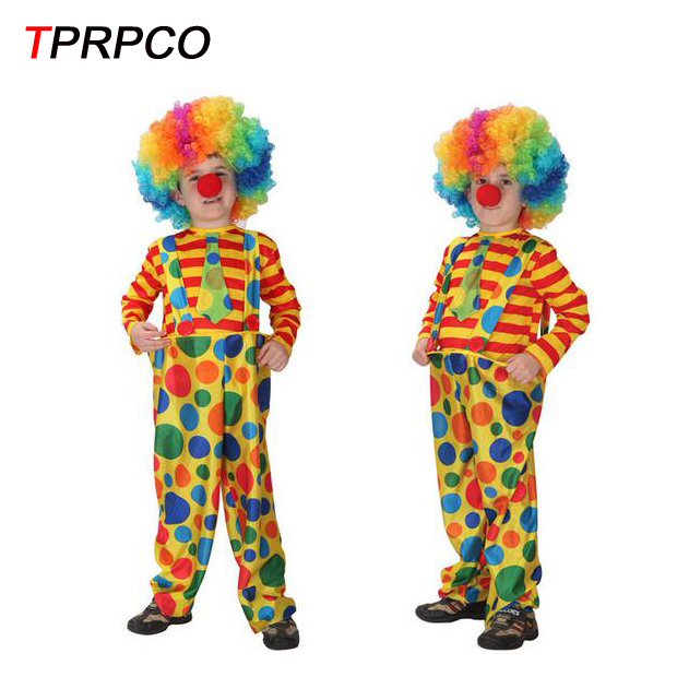 TPRPCO With Wig kids cute clown costumes cosplay halloween for children boy N149