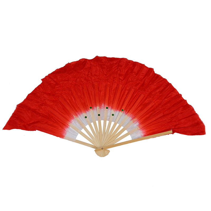 Beige Bamboo Ribs Flutter Fabric Chinese Folk Dancing Hand Fan Red White