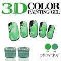 2pcs 3D Bright Soak Off Carved Patterns UV Gel Polish Nail Art Modelling Manicure 12 Color Sculpture Glitter