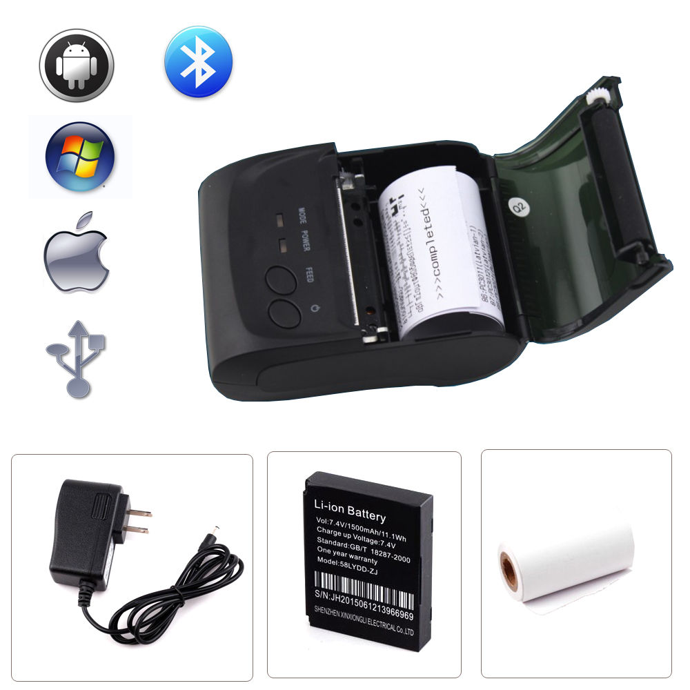 ФОТО 10pcs/lot Bluetooth Wireless 58mm Thermal Dot Receipt Printer USB + serial port Android IOS PC Compatible_DHL