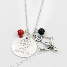 """Walking Dead Pendant Necklace Daryl Geek Gift Norman ReedusTWDZombie Killer Crossbow,""""Keep Calm and Kill the Zombies""""Necklace"""