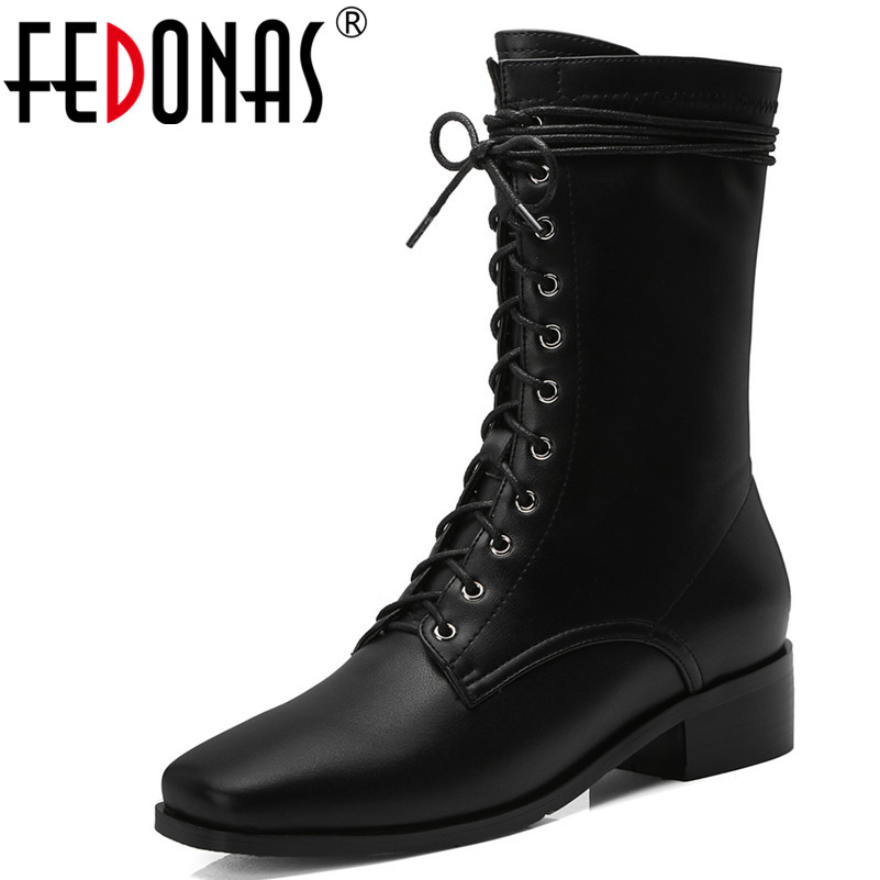 где купить FEDONAS 1New Women Mid-Calf Boots Genuine Leather Autumn Winter Warm Square Heels Shoes Woman Cross-tied Brand Motorcycle Boots по лучшей цене