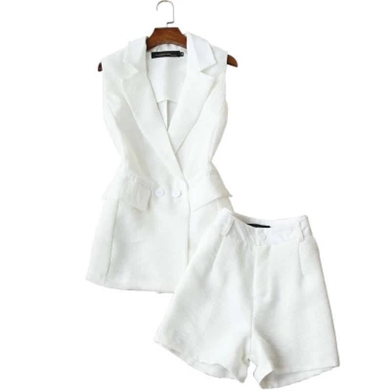 80645b3eff4 Модный белый костюм женский широкие шорты костюм женский летний без рукавов Белый  костюм куртка повседневный темперамент