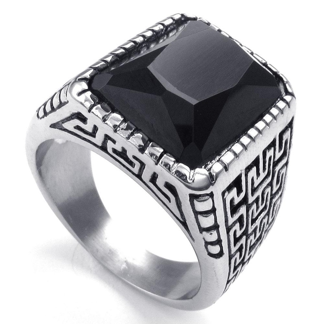 2014 new hot selling fashion jewelry titanium stainless steel classic retro biker mens black zircon ring - Biker Wedding Rings