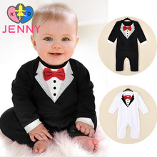 European American long sleeve style baby newborn infant bodysuits ribbon bow children's overalls clothing clothes for baby boys