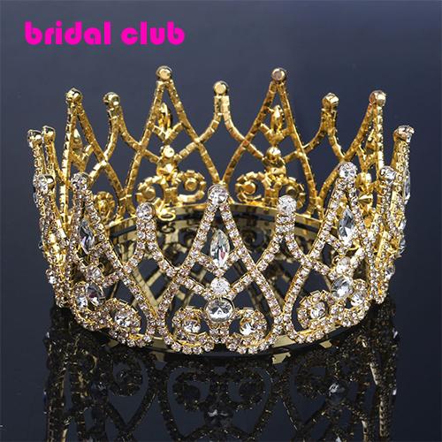 Coroas de Rodada completa Limpar Strass banhado a Ouro Luxuoso Grande Tiaras Pageant Partido Prom Acessórios de Cabelo