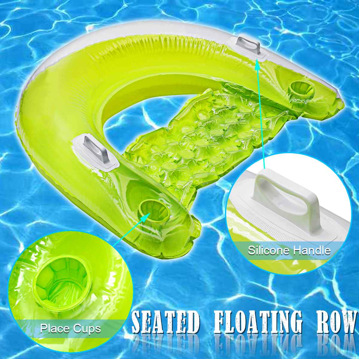 Ride-On Air Mattress Swimming Ring Seated Row Luxury Inflatable Floating Row Adult Pool Party Swimming Floating Bed Water