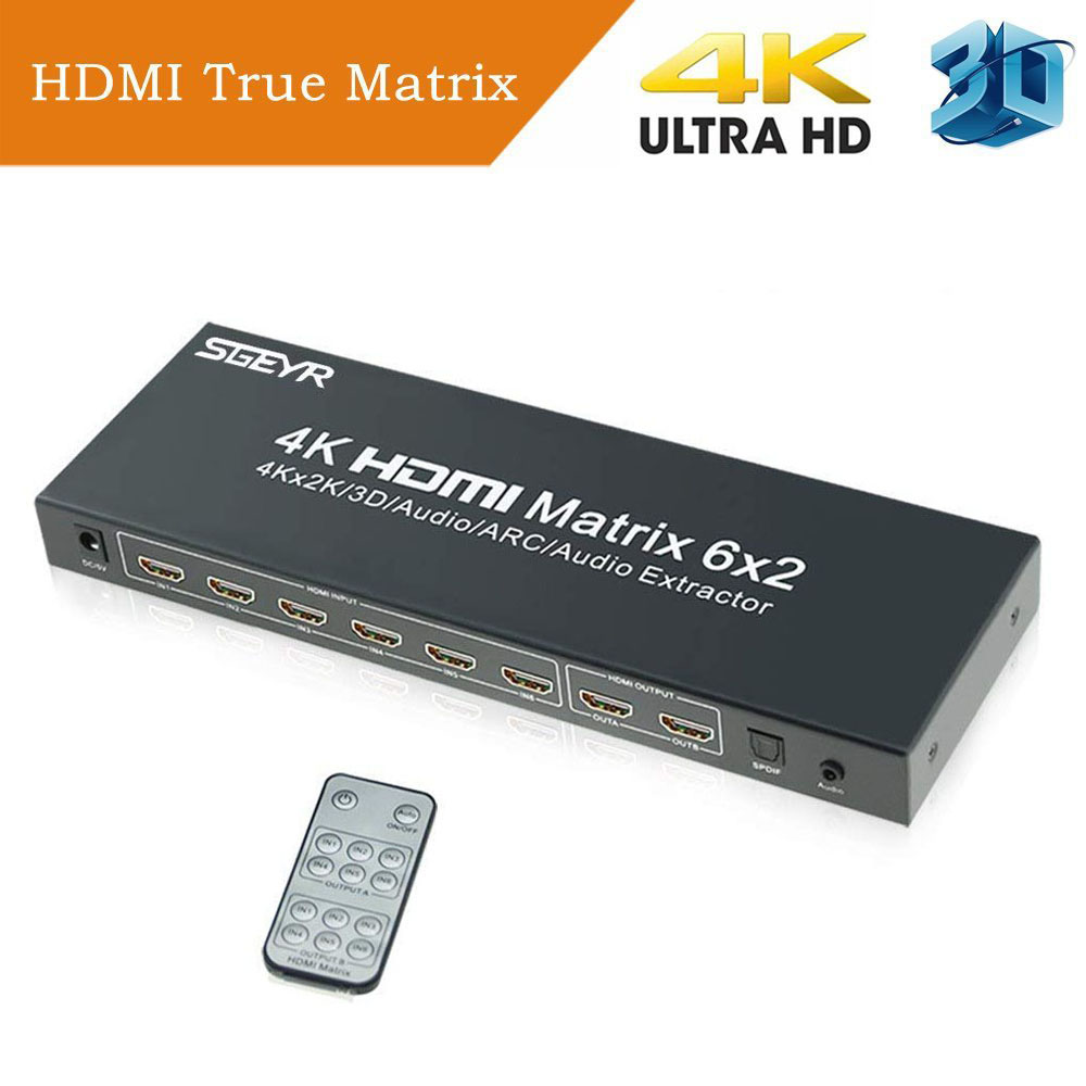 SGEYR 4Kx2K HDMI Matrix 6x2 HDMI Splitter Switch 6 in 2 out with Remote Control SPDIF+ 3.5mm HDMI Audio Extractor 4K lerbyee hdmi 2 0 switch 4k 60hz audio extractor remote control 3 in 1 out hdcp2 2 spdif