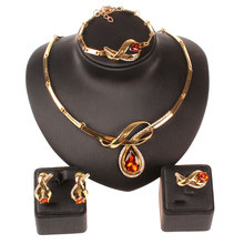 Earring-Ring Fine-Jewelry-Set Wedding-Necklace African-Beads Bracelet Crystal Gold-Color