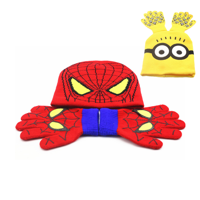 12 Sets <font><b>Children</b></font> Cartoon Winter Knitted Despicable Me Minion Hat and <font><b>Gloves</b></font> <font><b>Spiderman</b></font> Hat & <font><b>Glove</b></font> Baby Sets High Quality