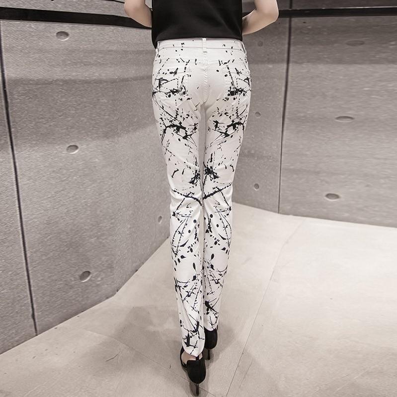 2018 New Fashion Slim Printed White Denim Jeans Woman Skinny Jeans Pants American Apparel Women Robin Jeans Ladies Trousers