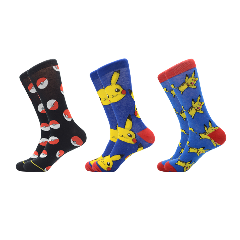 Jhouson 1 Pairs/lot Funny Unisex Cotton Woman Men's Cartoon Crew Casual Socks Pikachu Jacquard Prototype Novelty Colorful Socks