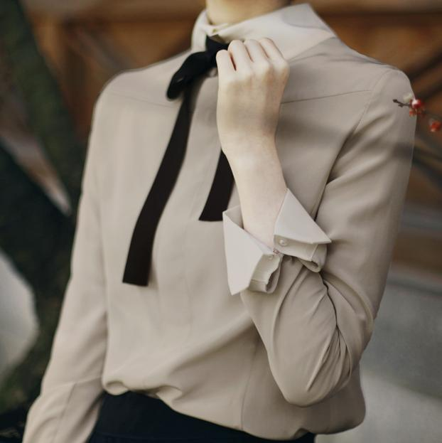 new Spring and summer OL solid color shirt female long-sleeved shirt Elegant bow tie blouse