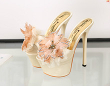 14CM super-high heels nightclub sexy gold diamond female slippers summer flowers waterproof fish head high-heeled sandals
