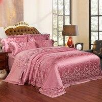 2018 Mauve Leaves Duvet Cover Set Silk Cotton Blend Bedding Set Jacquard 4pc Queen King Bedlinens Sheet Pillowcases