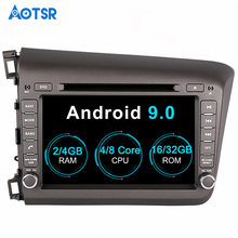 Aotsr Android 9.0 GPS navigation Car DVD Player For Honda Civic left 2012 2013 multimedia 2 din radio recorder 4GB+32GB 2GB+16GB(China)
