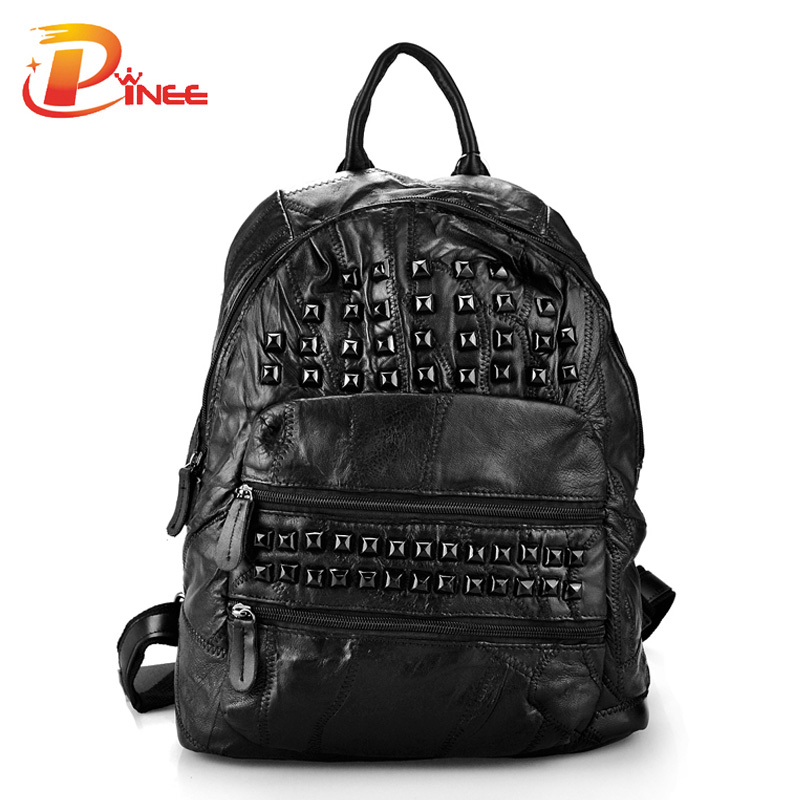 ФОТО Female Vintage Backpacks For School Genuine Leather Rivets Black Bags For Women Famous Brand Free Shipping