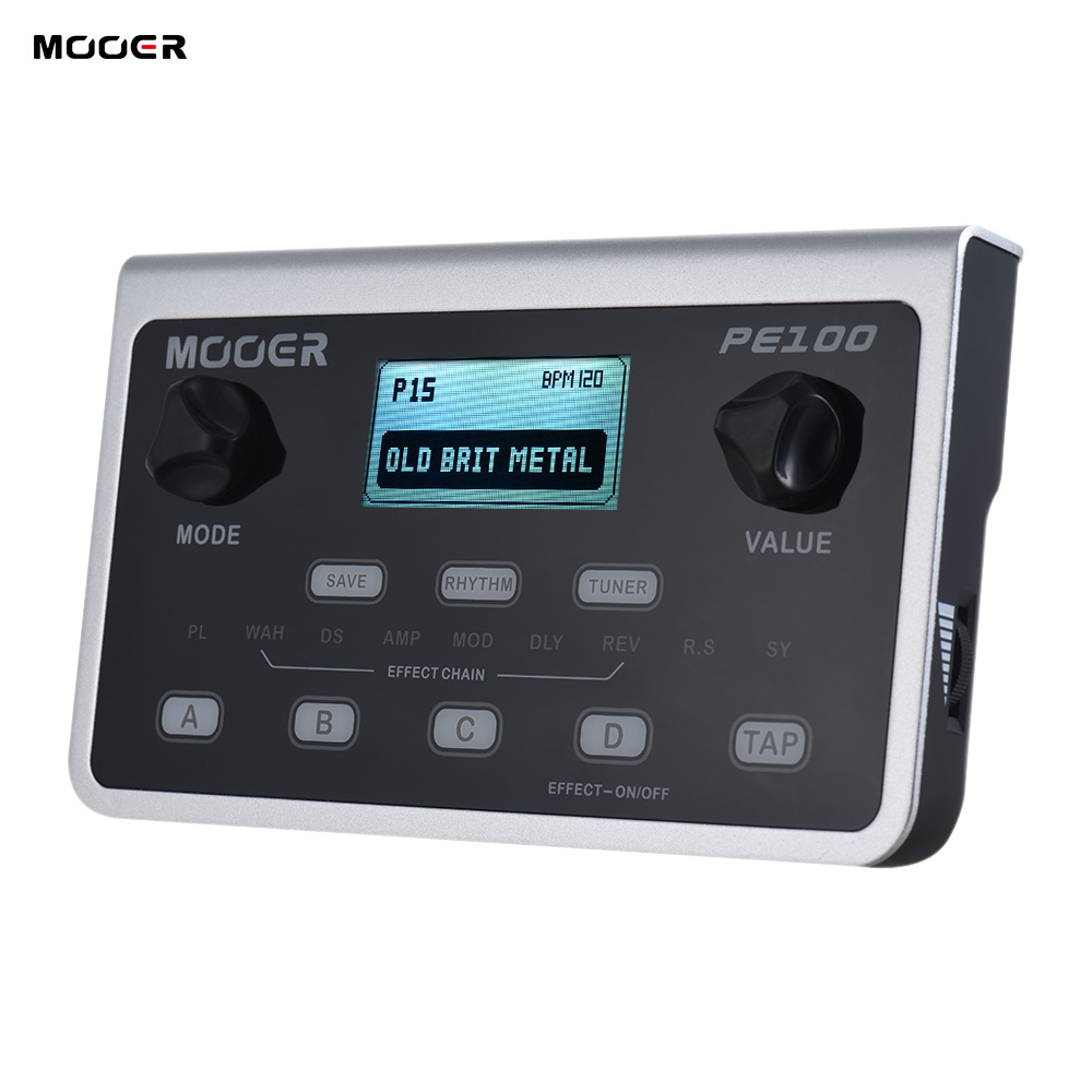 MOOER PE100 Portable Multi effects Processor Guitar Effect Pedal 39 Effects 40 Drum Patterns 10 Metronomes