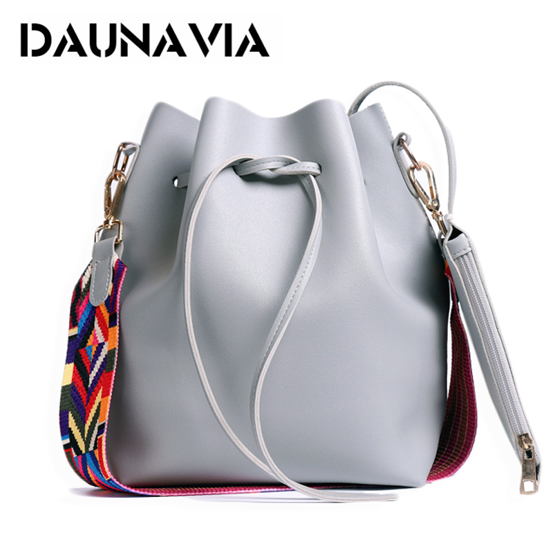 DAUNAVIA Women bag with Colorful Strap Bucket Bag Women PU Leather Shoulder Bags Brand Designer Ladies Crossbody messenger Bags 2017 national embroidery bags women leather shoulder bag lady college crossbody bag colorful strap girls messenger bags school
