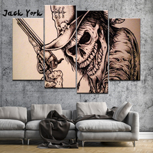 Canvas Painting cool skull and guns 4 Pieces Wall Art Framework Modular Wallpapers Poster Print living room Home Decor