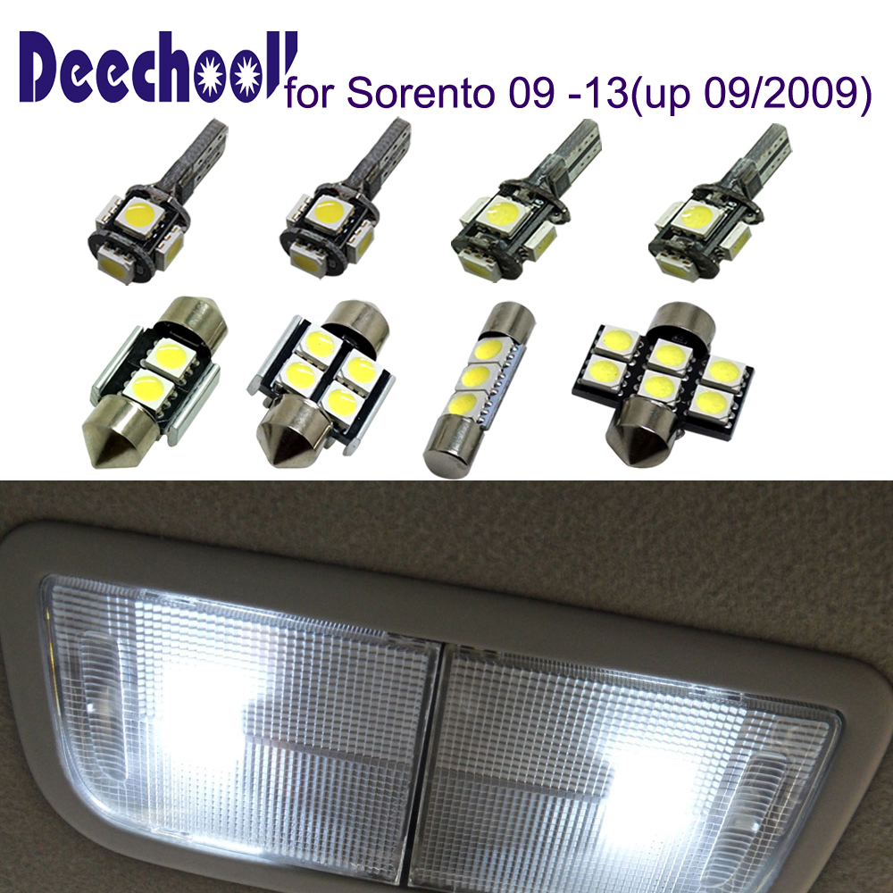 deechooll 8pcs Car LED Bulbs for Kia Sorento 2009-2014,Canbus White Interior Light for K ...