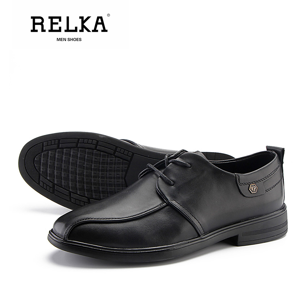 RELKA Retro Fashion Man Luxury Pumps High Quality Genuine Leather Classic Round Toe Thick Heel Shoes Vintage Solid Pumps P50 in Men 39 s Casual Shoes from Shoes