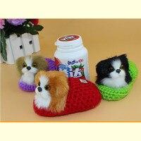 Artificielle caniche chien, belle chiot en pantoufle, doux ornement chien pet drôle bon chien, décoration de la maison doux party favor cadeau