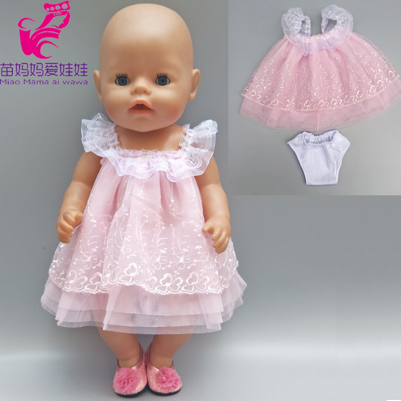 18 inch 43cm Zapf Baby Born Doll pink dress with underpants 18 45cm girl boy doll clothes shirt and jeans pants american girl doll clothes superman and spider man cosplay costume doll clothes for 18 inch dolls baby doll accessories d 3