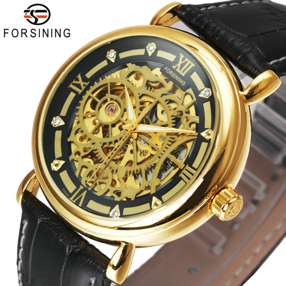 FORSINING Fashion Royal Golden Watch Men Leather Strap Crystal Skeleton Dial Auto Mechanical Mens Watches Top Brand Luxury Clock forsining golden case steampunk automatic wrist watch mens skeleton watches top brand luxury uhren men genuine leather clock