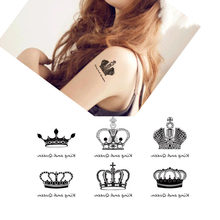 Favor King Crown Designs Waterproof Body Art Temporary Tattoos Sticker Drawing Women DIY Glitter Fake Tattoo Sleeves(China)