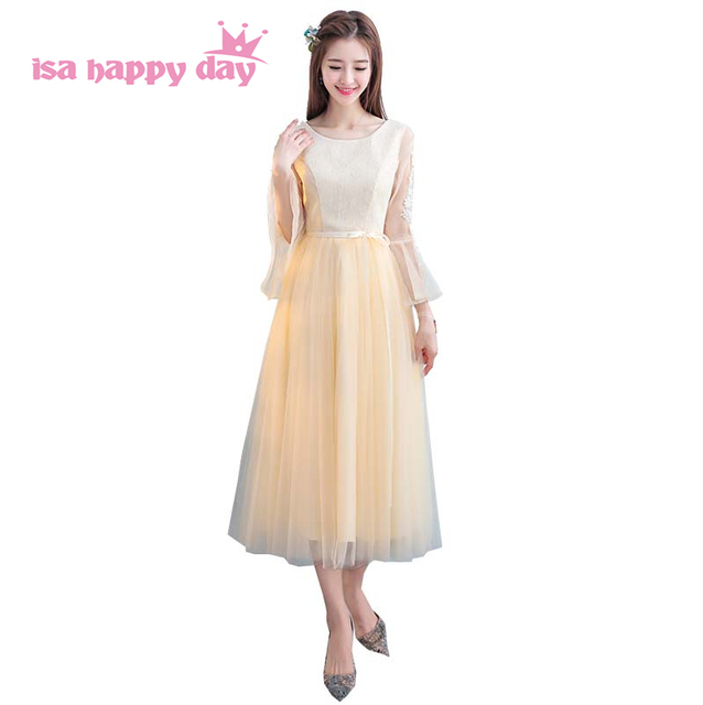 68479a996e1 robe de soiree teenage short o neck lace bridesmaid dresses bridesmade dress  with sleeves wedding guest under 50 H4174