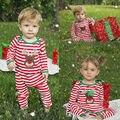 2016 Muchachos de Los Bebés Ropa de Navidad Infantil Bebes Recién Nacidos Mameluco Rayado Niños de Disfraces de Navidad Ropa 0-24 M