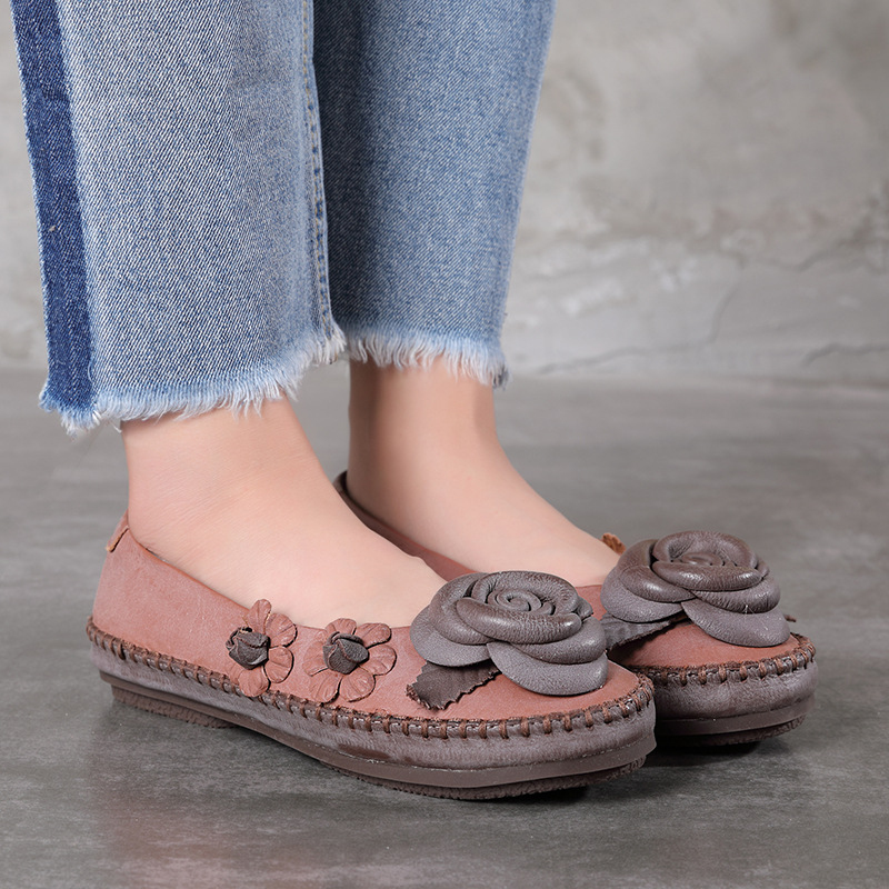 Women Flats Shoes Cowhide Fashion Flowers Handmade Leather Shoes Vintage Casual Dress Shoes Woman Loafers Shoes