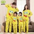 GOPLUS Família Roupas Combinando Os Pais Do Miúdo Roupas Família Agasalho de Algodão Dos Desenhos Animados Bob Esponja Pijama Roupas Casuais Roupas de Bebê