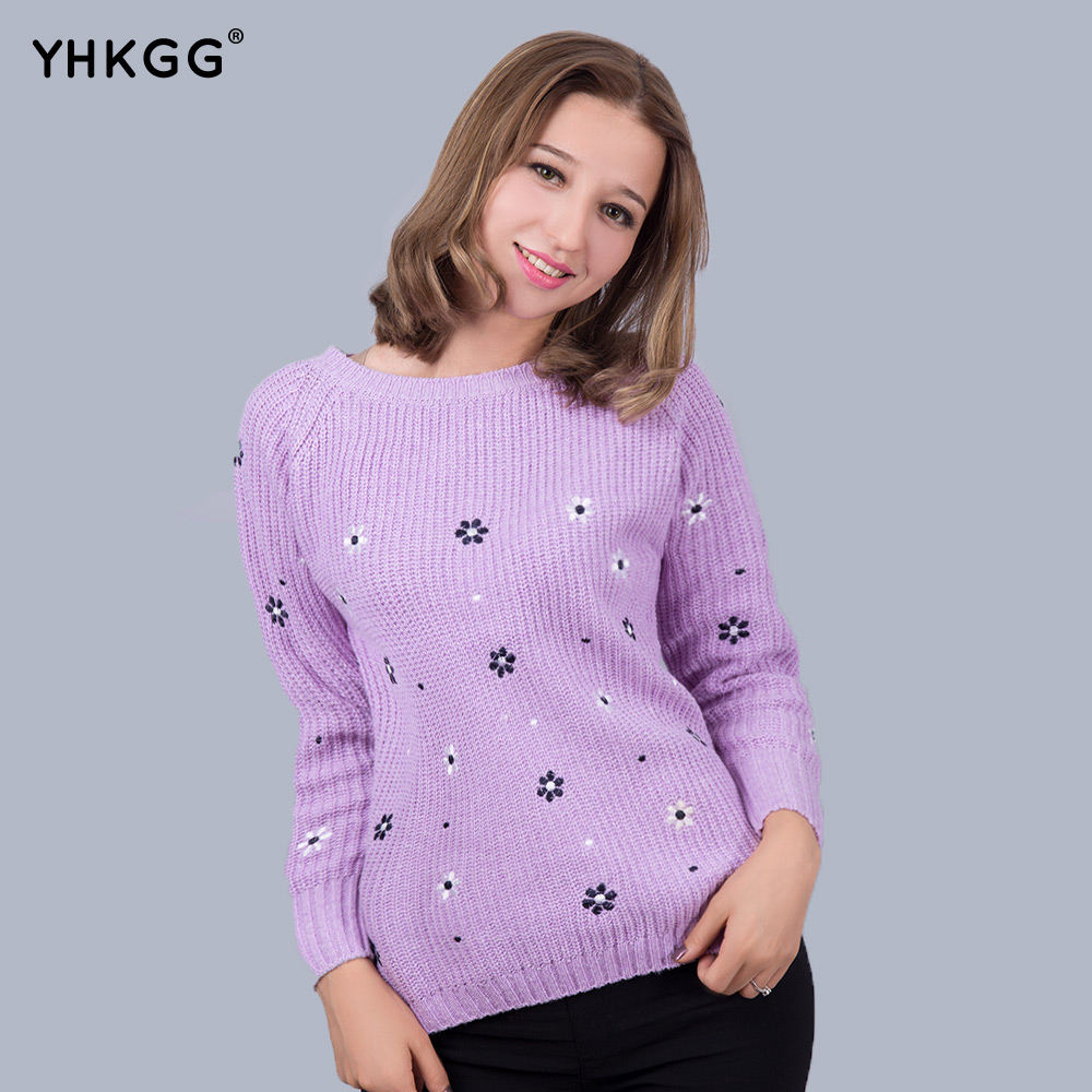 Fall 2016 YHKGG Fashion Flower Brand Printed Top Shop Women Sweater O-neck Long Sleeve Loose Pullovers Knitwear Tops