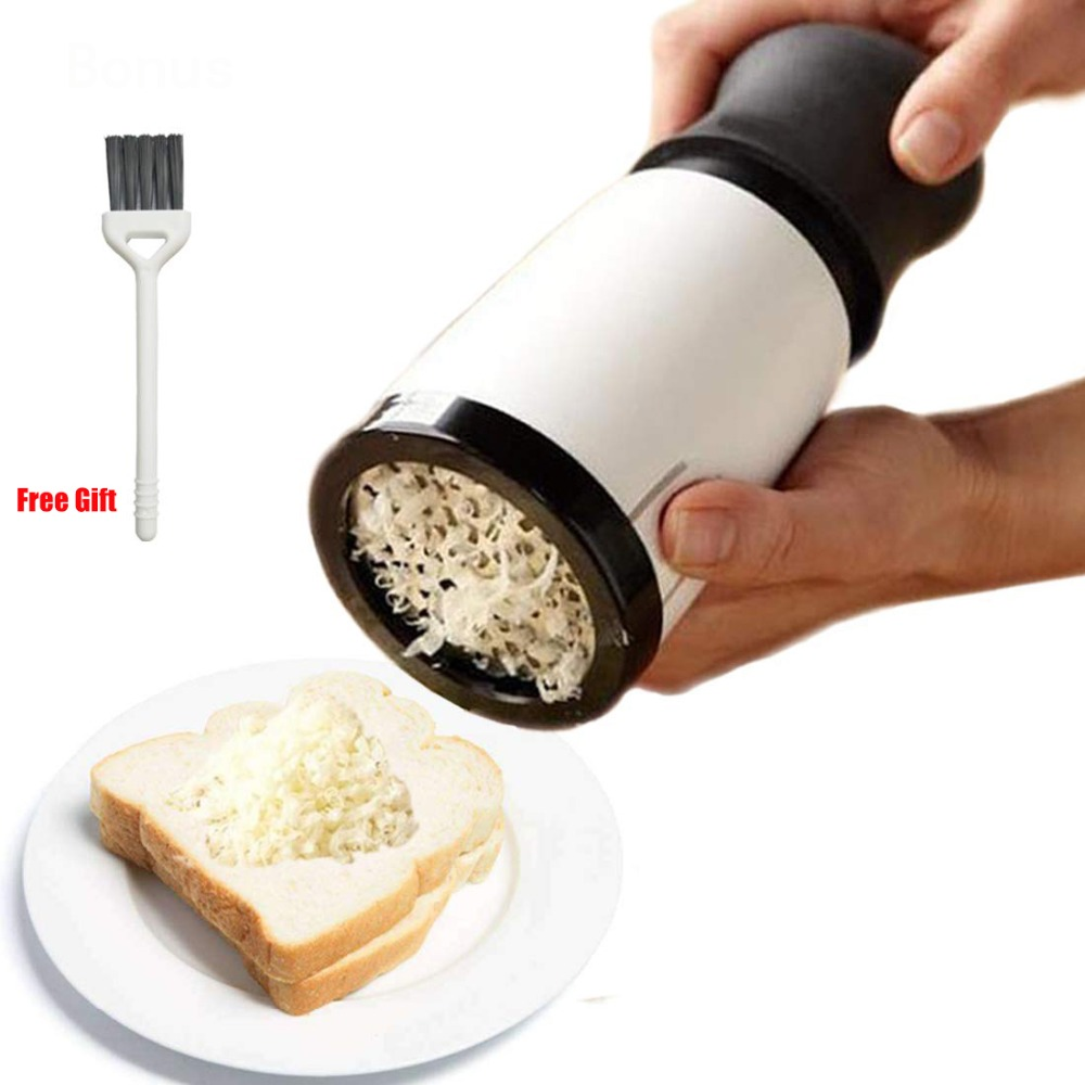 Stainless Steel Cheese Grater Butter Mill Grater Spreadable Bread Veggies Corn Grater Cheese Slicer 2 Blades with Cleaning Brush image