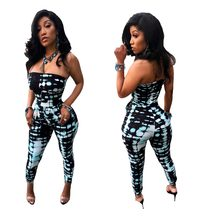 72a851ee8 Sassy novidade sexy macacões para as mulheres rompers mulheres jumpsuit  strapless impressão slim fit partido playsuit T3260H